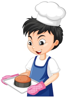 ケーキのトレイを保持しているシェフの少年の漫画のキャラクター