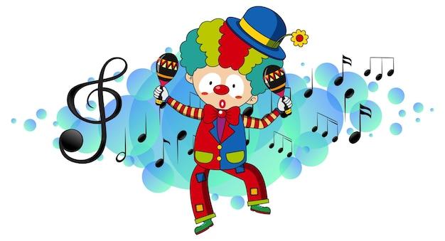 Мультипликационный персонаж клоуна танцует с музыкальными символами мелодии