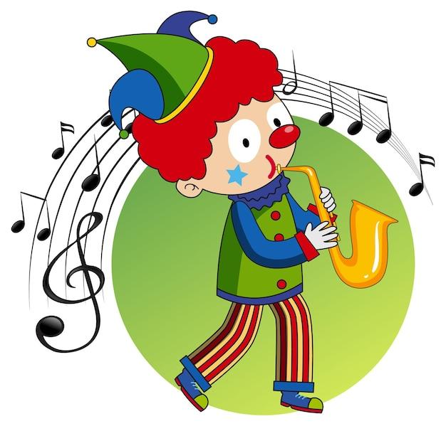 Мультипликационный персонаж клоуна играет на саксофоне с музыкальными символами мелодии
