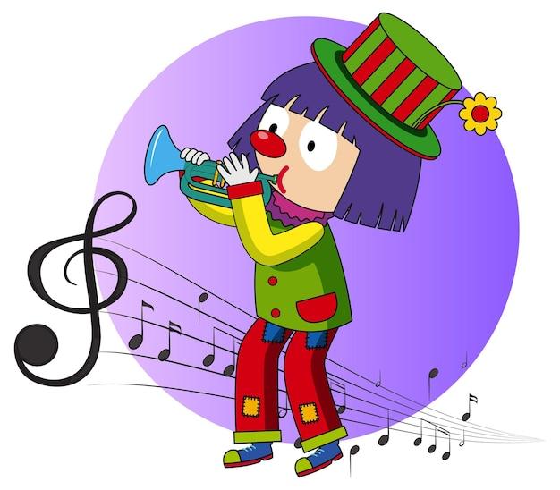 Мультипликационный персонаж клоуна играет на трубе с музыкальными символами мелодии
