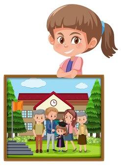 彼女の卒業写真を保持している女の子の漫画のキャラクター