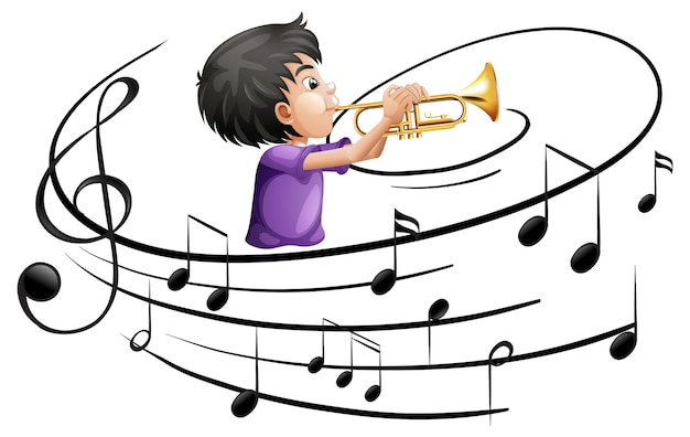Мультипликационный персонаж человека, играющего на трубе с музыкальными символами мелодии