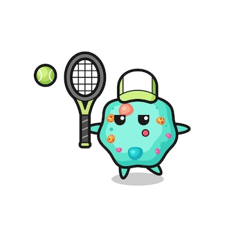 Мультяшный персонаж амебы как теннисист, милый дизайн футболки, стикер, элемент логотипа