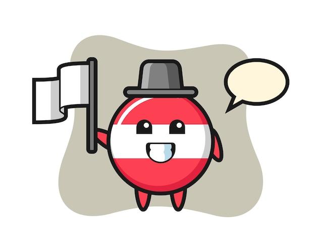旗を保持しているオーストリアの旗バッジの漫画のキャラクター
