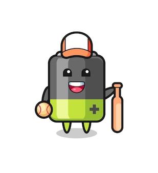 Мультяшный персонаж батареи как бейсболист, симпатичный дизайн для футболки, стикер, элемент логотипа