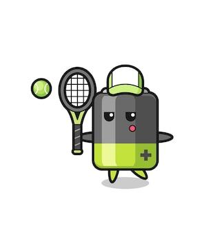 Мультяшный персонаж батареи как теннисист, симпатичный дизайн для футболки, стикер, элемент логотипа