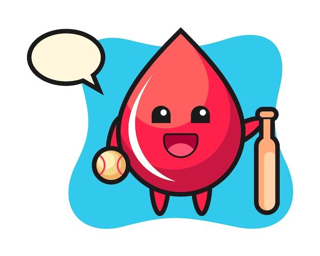 Мультяшный персонаж капли крови как бейсболист, милый стиль, наклейка, элемент логотипа