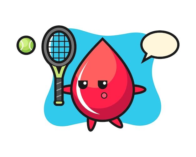 Мультипликационный персонаж капли крови как теннисист, милый стиль, наклейка, элемент логотипа
