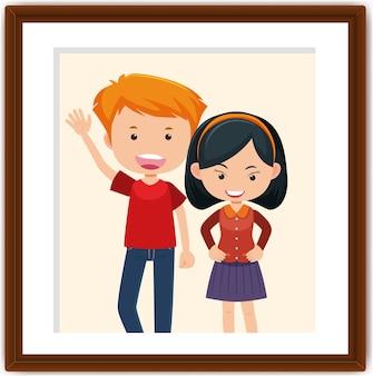 フォトフレームの男の子と女の子の漫画のキャラクター