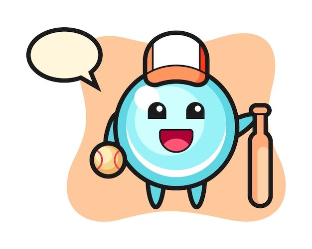 Мультипликационный персонаж пузыря, как бейсболист, милый дизайн стиля