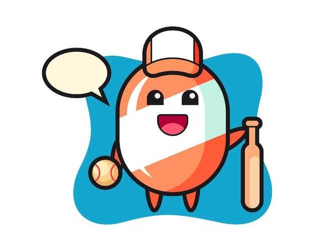Мультипликационный персонаж конфет в качестве бейсболиста