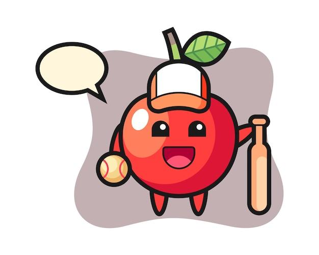 Мультипликационный персонаж вишни как бейсболист, милый дизайн стиля