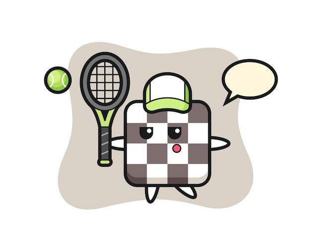 Мультипликационный персонаж шахматной доски как теннисист, милый стиль дизайна для футболки, наклейки, элемента логотипа
