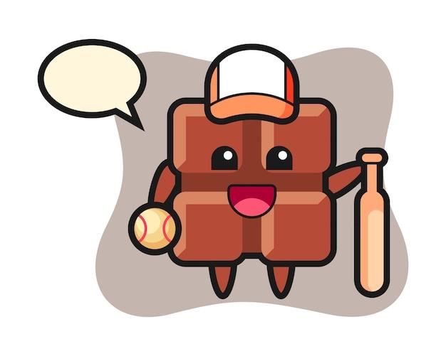 Мультипликационный персонаж плитки шоколада как бейсболист, милый стиль каваи.