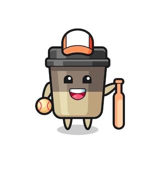 야구 선수로서의 커피 컵의 만화 캐릭터, 티셔츠, 스티커, 로고 요소를 위한 귀여운 스타일 디자인