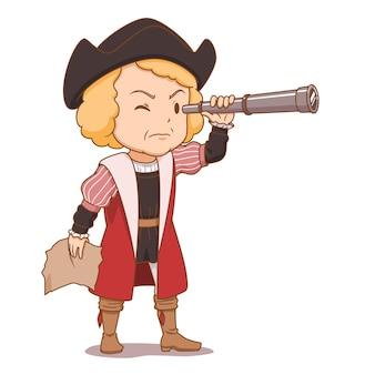 望遠鏡コロンブスデーを保持しているコロンブスの漫画のキャラクター