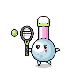 テニスプレーヤーとしての綿棒の漫画のキャラクター、tシャツ、ステッカー、ロゴ要素のかわいいスタイルのデザイン