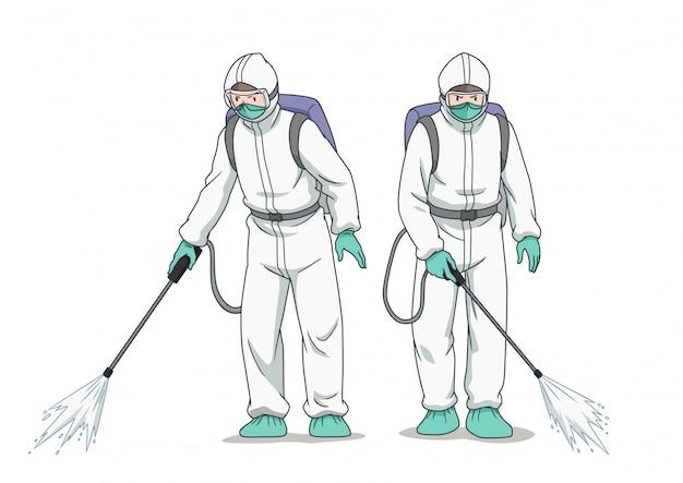 보호 마스크와 옷을 입고 코로나 바이러스 또는 covid-19를 살포하는 소독제 작업자의 만화 캐릭터.