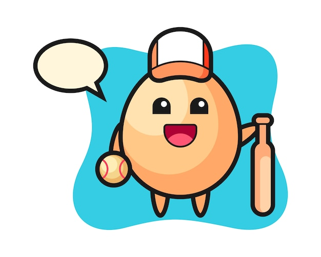 Мультипликационный персонаж яйца в качестве бейсболиста, милый стиль для футболки, стикер, элемент логотипа