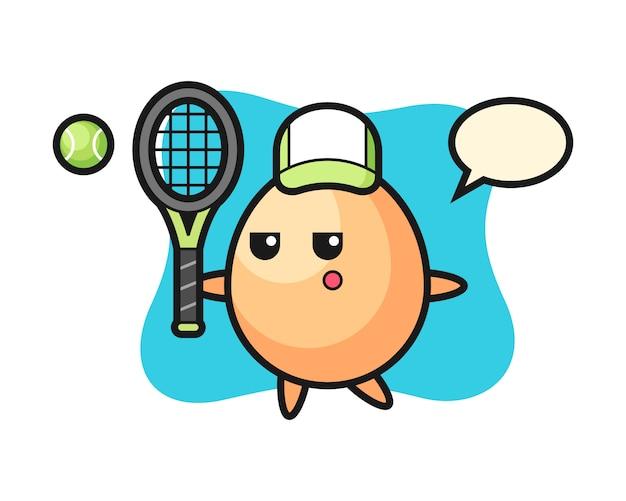 テニスプレーヤー、tシャツ、ステッカー、ロゴの要素のかわいいスタイルとして卵の漫画のキャラクター