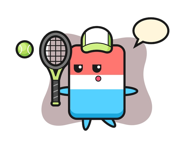 テニスプレーヤー、かわいいスタイル、ステッカー、ロゴ要素として消しゴムの漫画のキャラクター