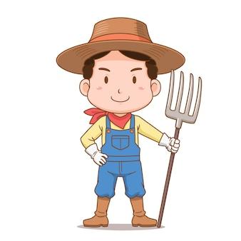 갈퀴를 들고 농부의 만화 캐릭터