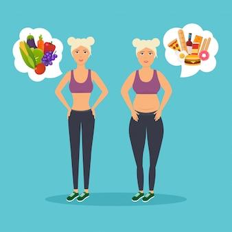 뚱뚱한 여자와 마른 여자의 만화 캐릭터. 다이어트. 이전과 이후. 뚱뚱하거나 날씬하다. 건강한 생활 습관과 나쁜 습관.