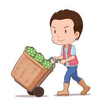 Мультипликационный персонаж доставщик цветов с тележкой содержит цветы лотоса.