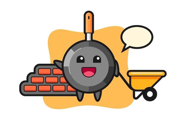 Мультипликационный персонаж сковороды как строитель