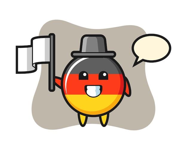 Мультипликационный персонаж значка флага германии с флагом