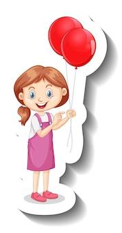 많은 풍선 만화 스티커를 들고 소녀의 만화 캐릭터
