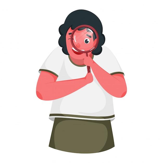 白い背景の上の虫眼鏡から検索する女の子の漫画のキャラクター。