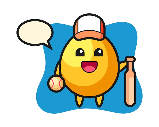 Мультипликационный персонаж золотого яйца в качестве бейсболиста, милый дизайн стиля