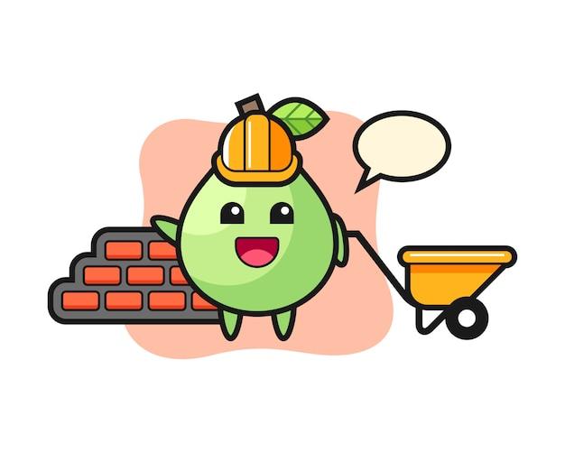 Мультипликационный персонаж из гуавы как строитель, милый стиль для футболки, наклейка, элемент логотипа