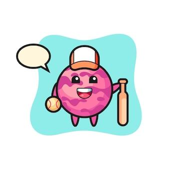 야구 선수로서의 아이스크림 스쿠프의 만화 캐릭터, 티셔츠, 스티커, 로고 요소를 위한 귀여운 스타일 디자인