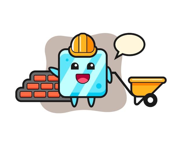 Мультипликационный персонаж кубика льда как строитель