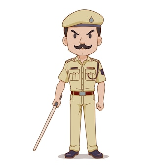 지휘봉을 들고 인도 경찰의 만화 캐릭터