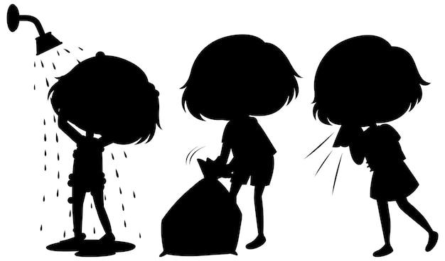 흰색 바탕에 아이 실루엣의 만화 캐릭터