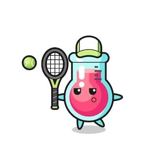 Мультипликационный персонаж лабораторного стакана как теннисист, милый стиль дизайна для футболки, наклейки, элемента логотипа