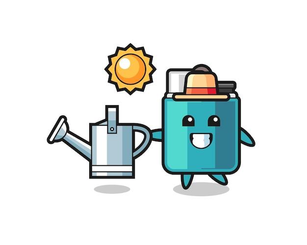じょうろを保持するライターの漫画のキャラクター、かわいいデザイン