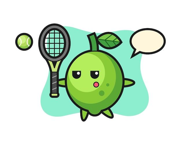 ライムの漫画のキャラクターテニス選手、かわいいスタイル、ステッカー、ロゴの要素としてのライムの漫画のキャラクター