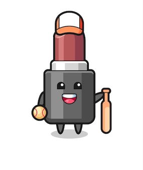 야구 선수로서의 립스틱의 만화 캐릭터, 티셔츠, 스티커, 로고 요소를 위한 귀여운 스타일 디자인