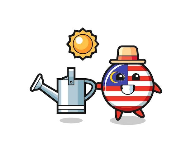 Мультипликационный персонаж значка флага малайзии, держащего лейку, милый стиль дизайна для футболки, наклейки, элемента логотипа