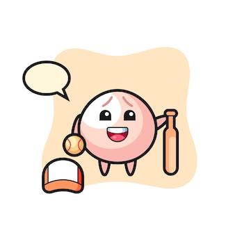 野球選手としての肉まんの漫画のキャラクター、tシャツ、ステッカー、ロゴ要素のかわいいスタイルのデザイン