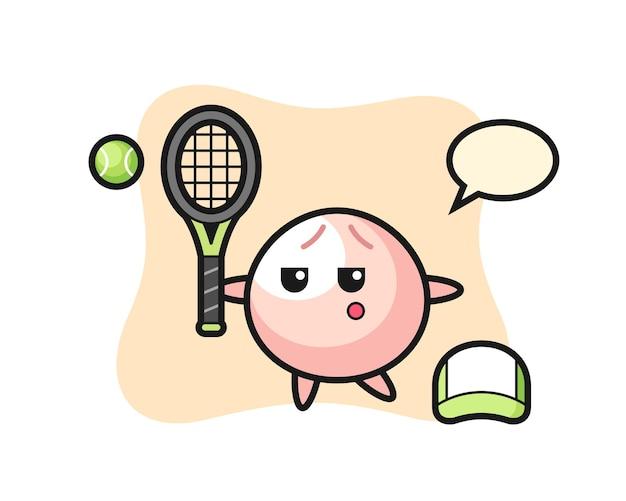 Мультипликационный персонаж мясной булочки в роли теннисиста, милый стиль дизайна для футболки, наклейки, элемента логотипа