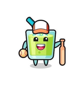 야구 선수로서의 멜론 주스의 만화 캐릭터, 티셔츠, 스티커, 로고 요소를 위한 귀여운 스타일 디자인
