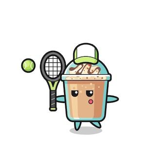 Мультяшный персонаж молочного коктейля в роли теннисиста, милый стиль дизайна для футболки, наклейки, элемента логотипа