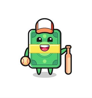 Мультяшный персонаж денег как бейсболист, милый стиль дизайна для футболки, стикер, элемент логотипа