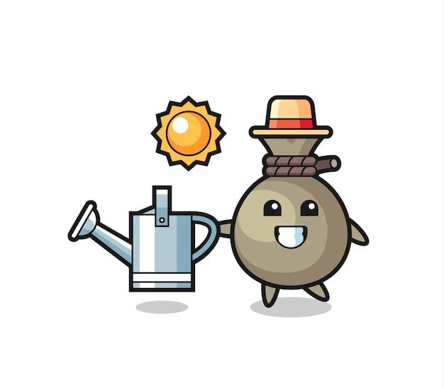 물뿌리개를 들고 있는 돈 자루의 만화 캐릭터, 티셔츠, 스티커, 로고 요소를 위한 귀여운 스타일 디자인