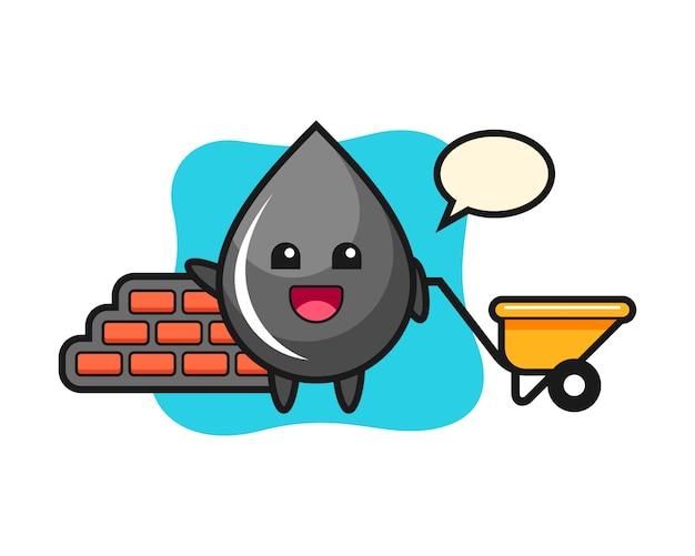 Мультипликационный персонаж капли нефти как строитель